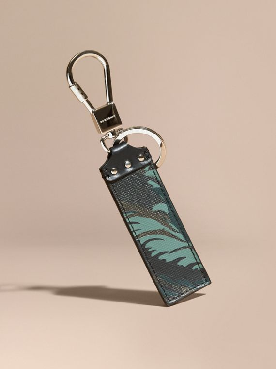 Floral Print London Check Key Ring