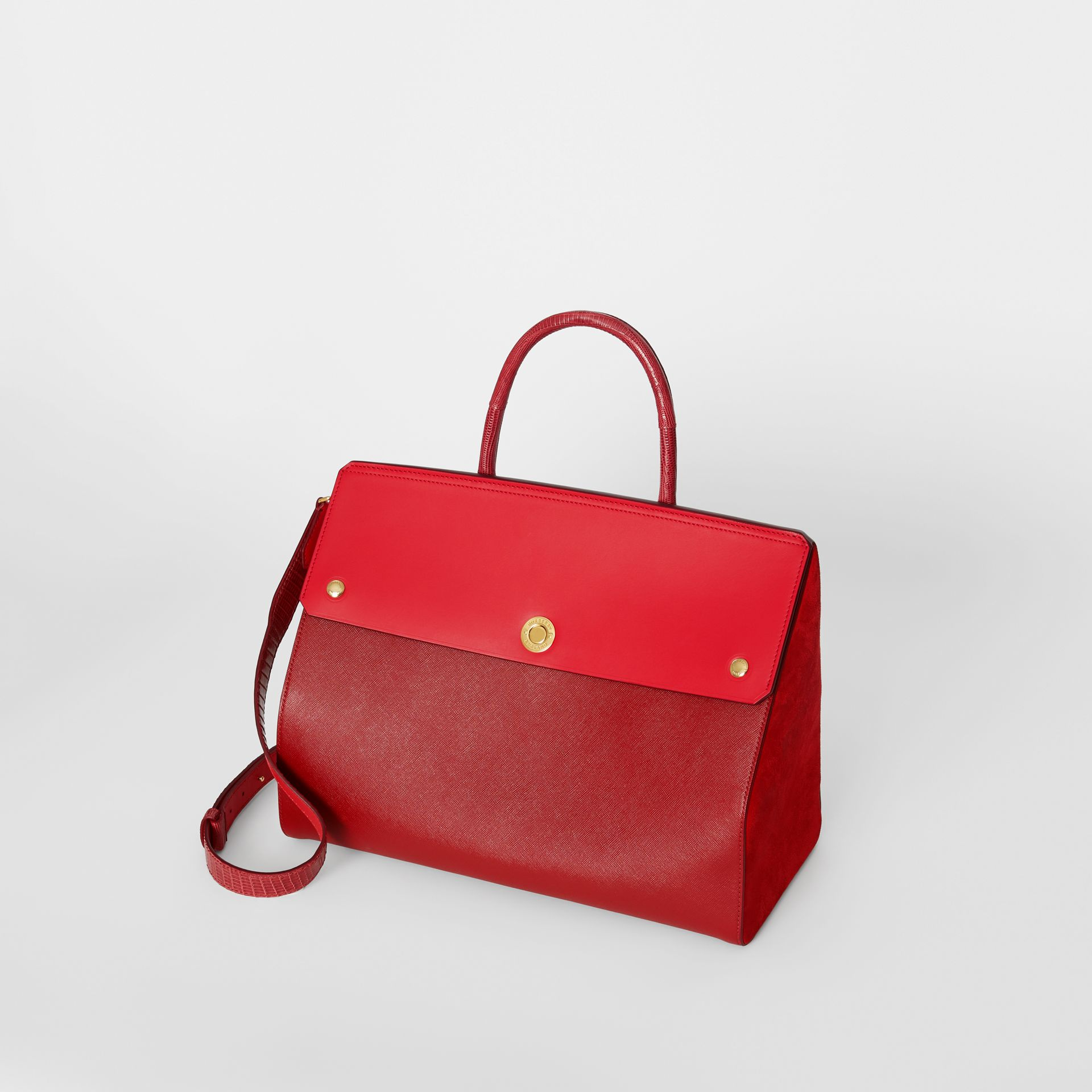 Small Leather and Suede Elizabeth Bag in Bright Military Red - Women | Burberry Singapore - gallery image 2