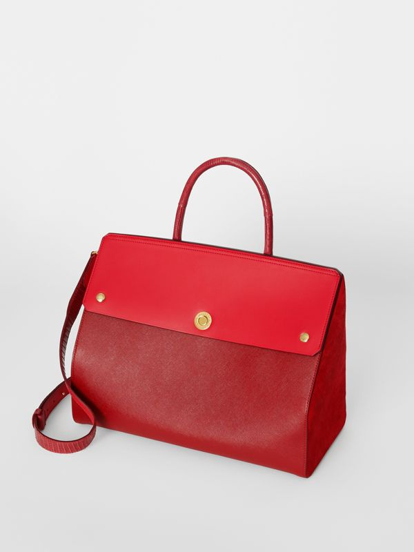 Small Leather and Suede Elizabeth Bag in Bright Military Red - Women | Burberry - cell image 3