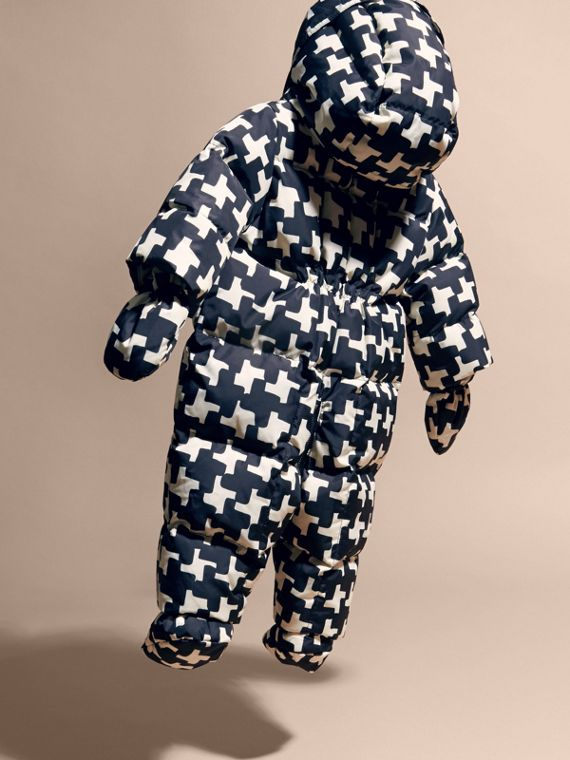 Natural white Houndstooth Print Down-filled Puffer Suit - cell image 3