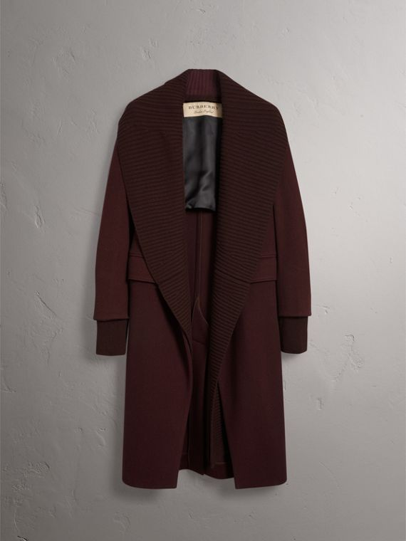 Detachable Rib Knit Collar Cashmere Coat in Blackcurrant - Women | Burberry - cell image 3