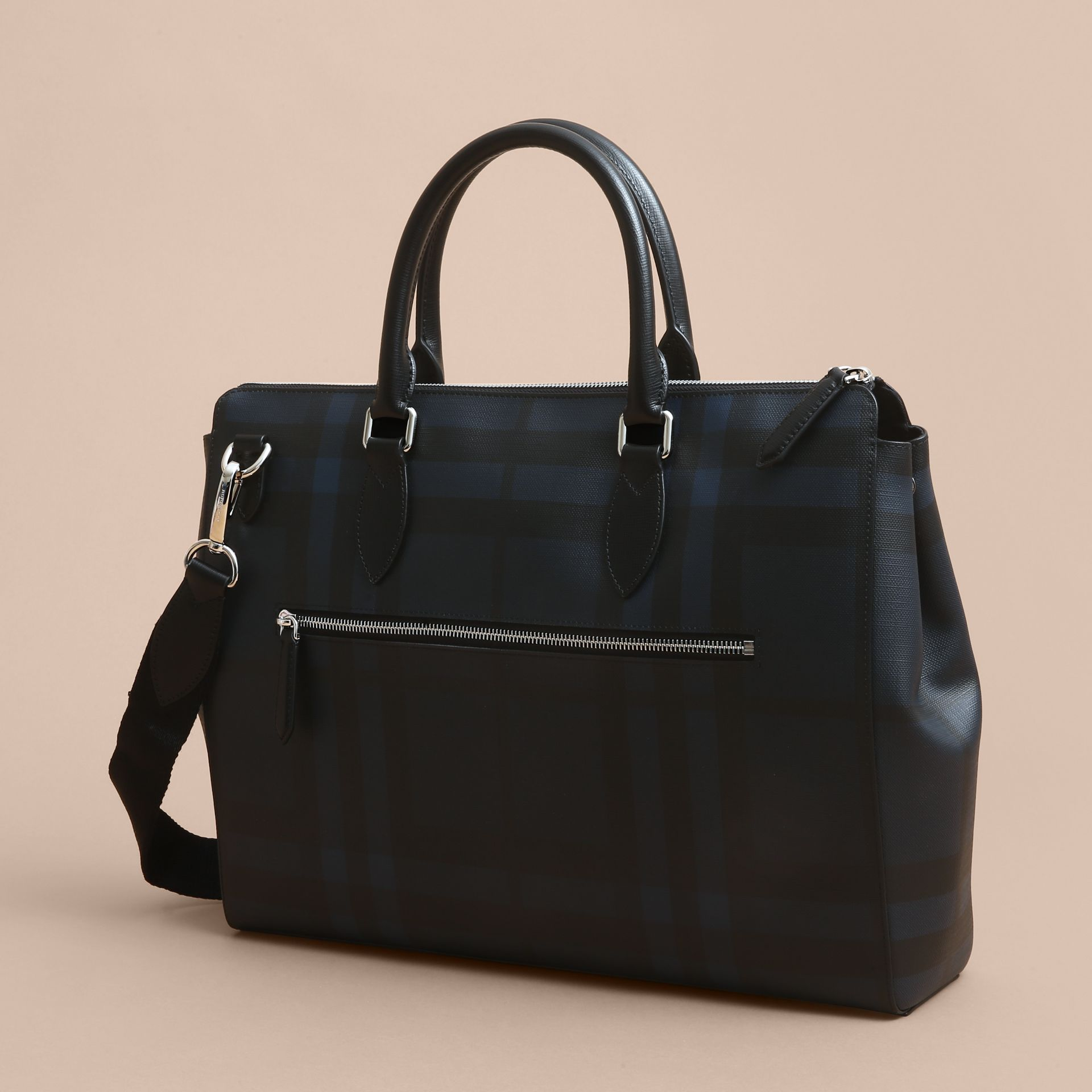 Large London Leather Briefcase in Dark Navy - Men | Burberry - gallery image 3