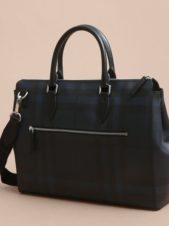 Large London Leather Briefcase in Dark Navy - Men | Burberry Singapore - cell image 2