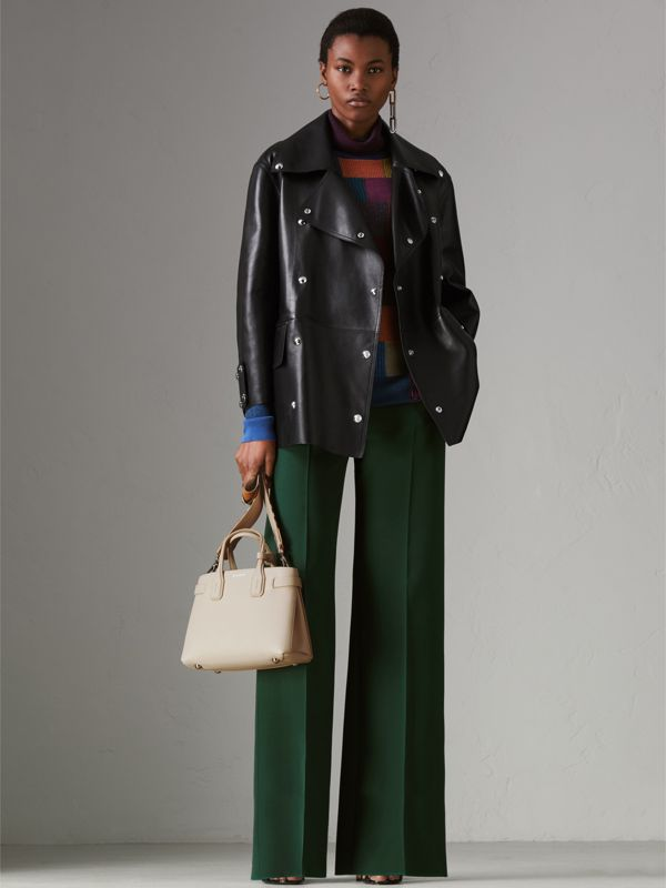 The Small Banner in Leather and Vintage Check in Limestone - Women | Burberry Singapore - cell image 2