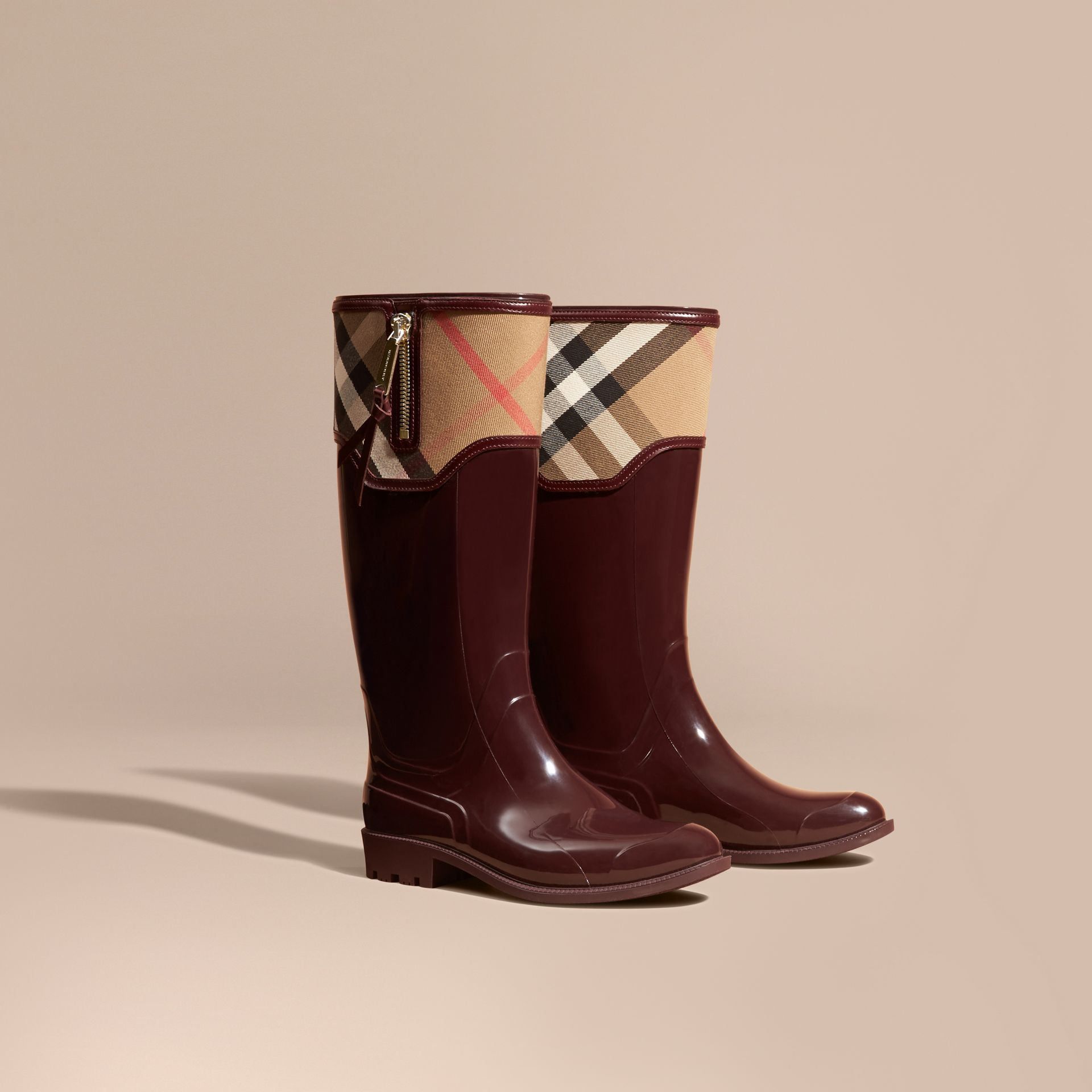 Oxblood Leather and House Check Rain Boots - gallery image 1