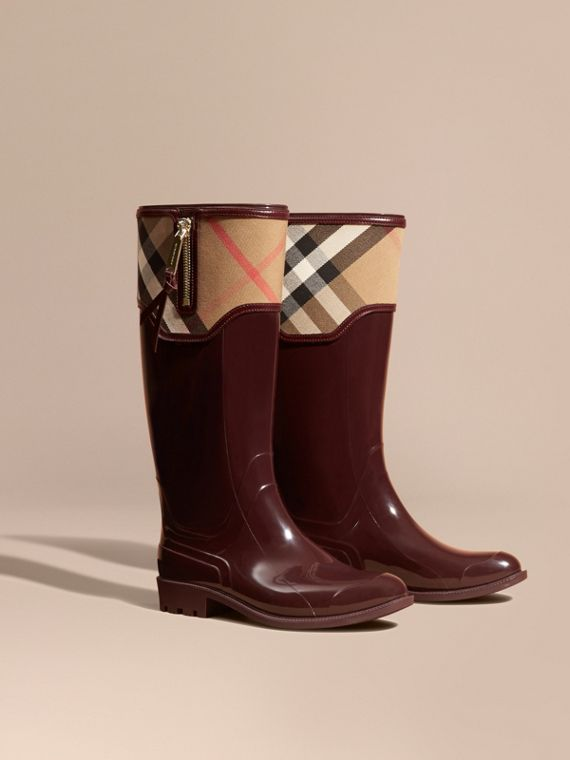 Leather and House Check Rain Boots