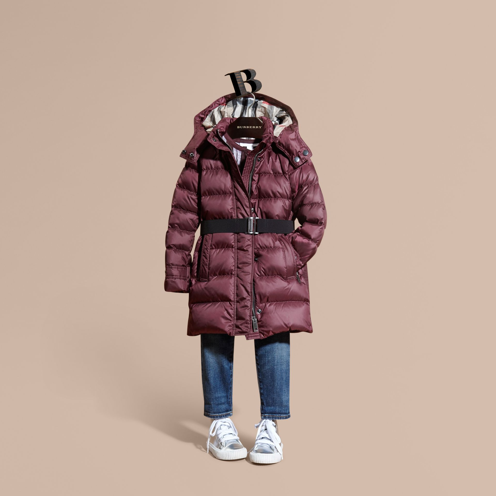 Beetroot Showerproof Puffer Coat - gallery image 1