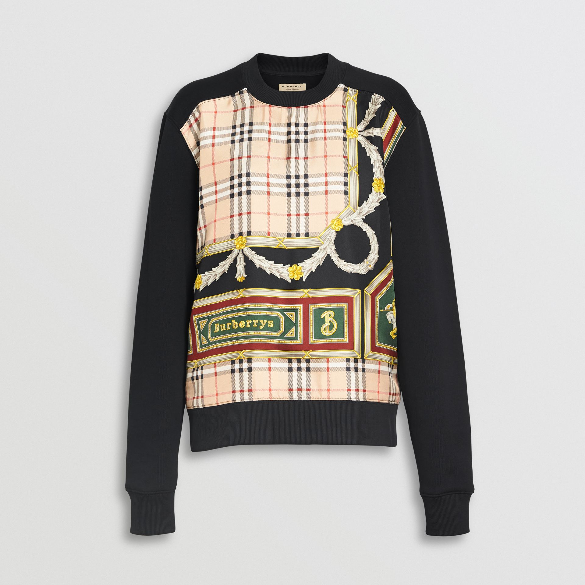 Archive Scarf Print Panel Sweatshirt in Black - Women | Burberry Australia - gallery image 3