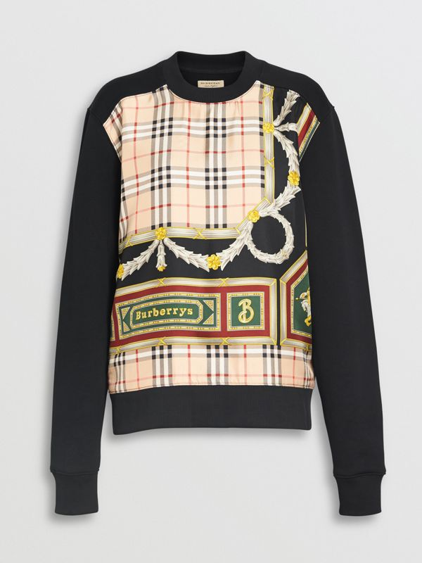 Archive Scarf Print Panel Sweatshirt in Black - Women | Burberry Australia - cell image 3