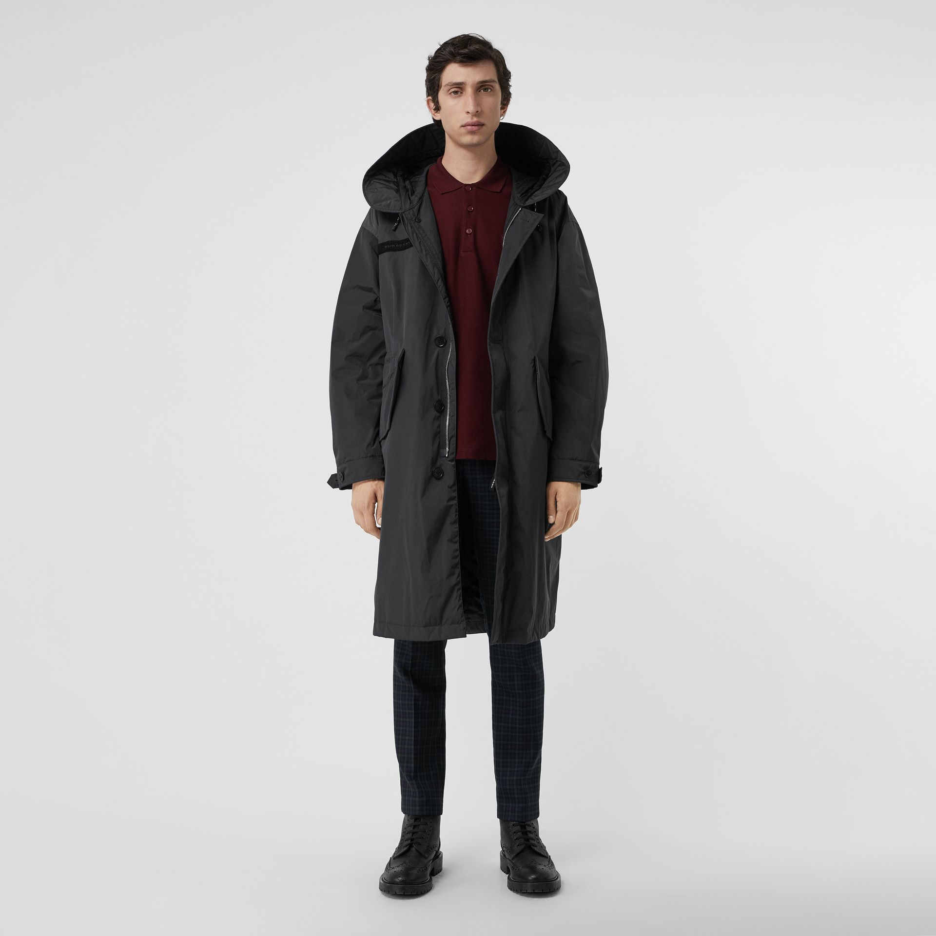 Quilt-lined Technical Nylon Parka in Dark Charcoal - Men | Burberry Australia - gallery image 0