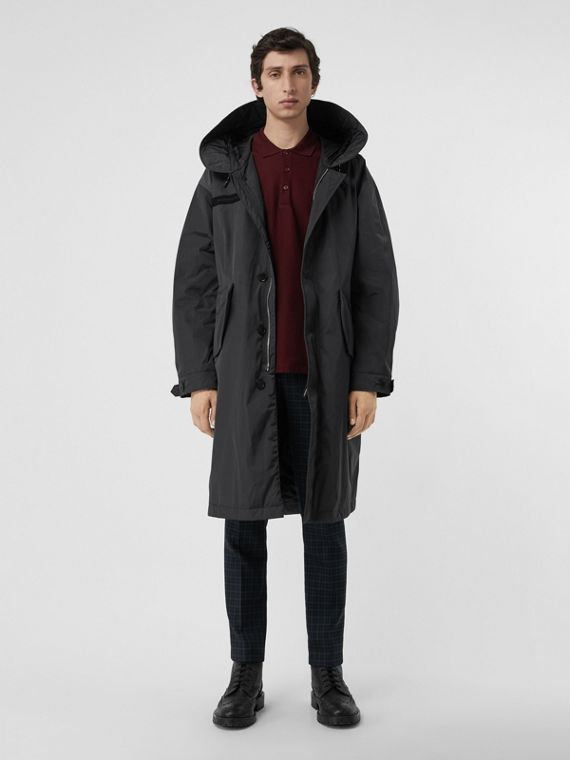 Quilt-lined Technical Nylon Parka in Dark Charcoal