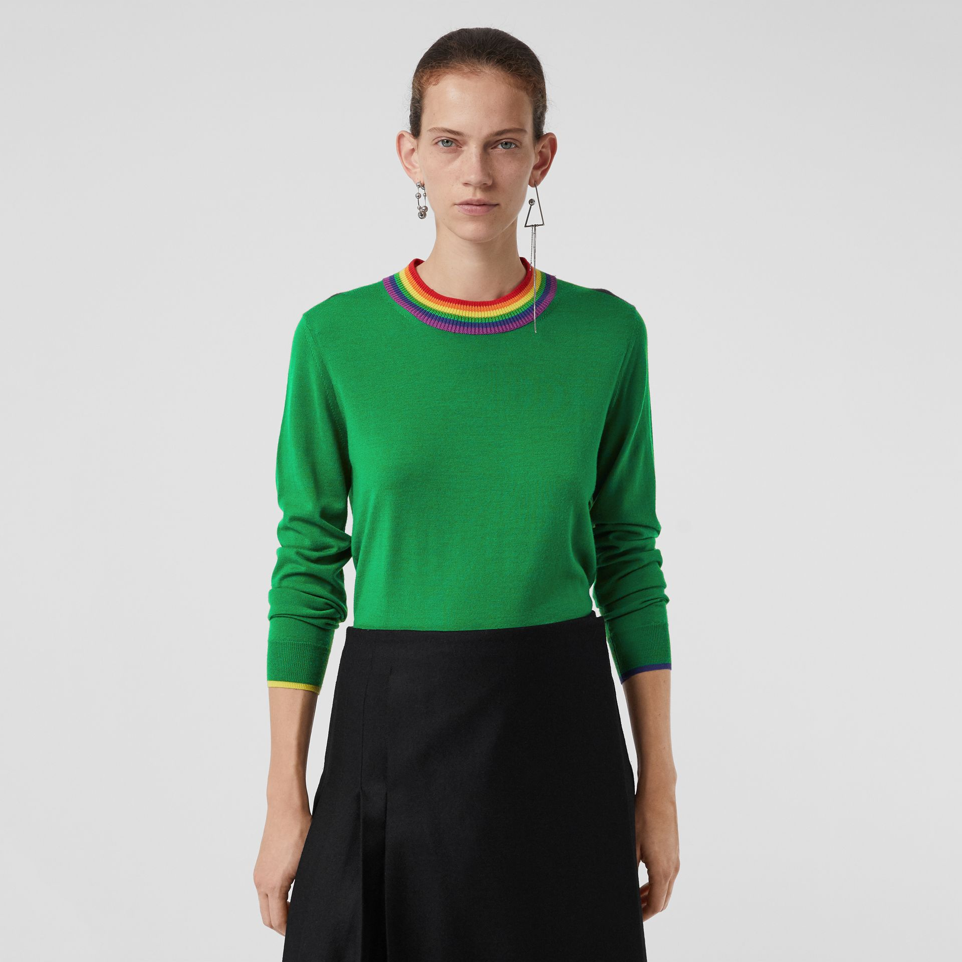 Stripe Detail Wool Sweater in Bright Green - Women | Burberry - gallery image 4