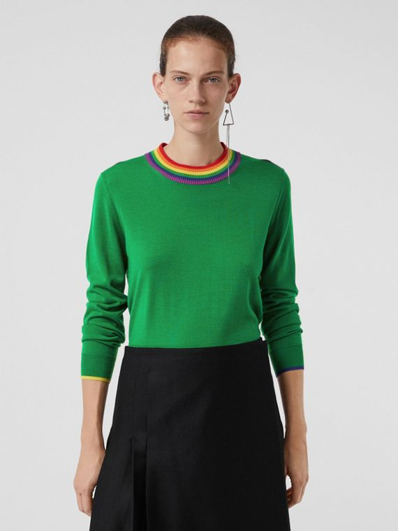 Stripe Detail Wool Sweater in Bright Green
