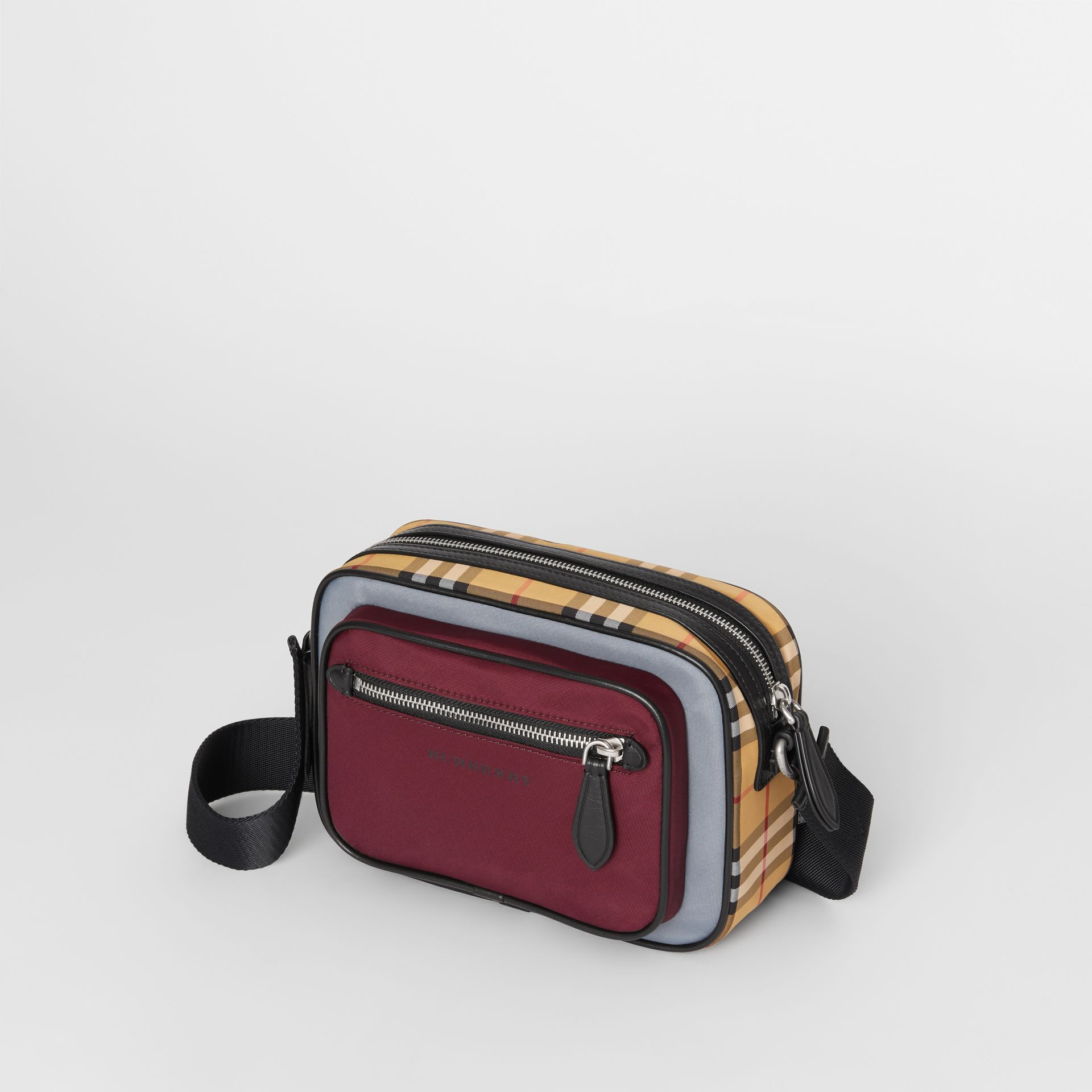 Colour Block Vintage Check Crossbody Bag in Oxblood - Men | Burberry Australia - gallery image 2