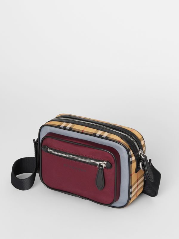 Colour Block Vintage Check Crossbody Bag in Oxblood - Men | Burberry - cell image 2