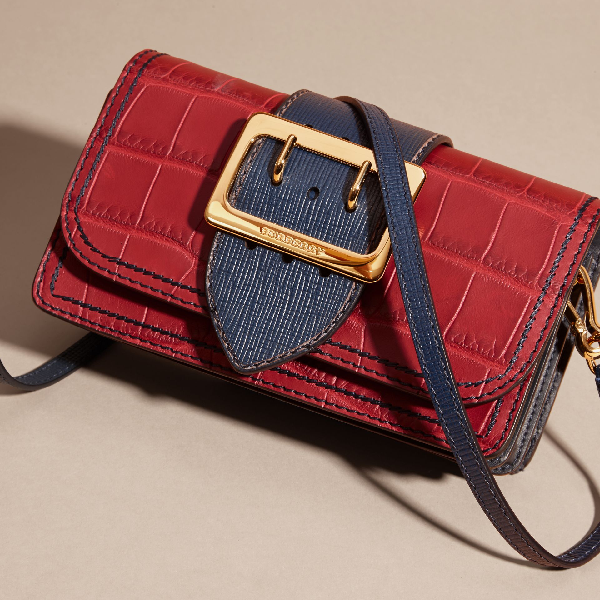The Small Buckle Bag in Alligator and Leather Garnet Red/sapphire - gallery image 8