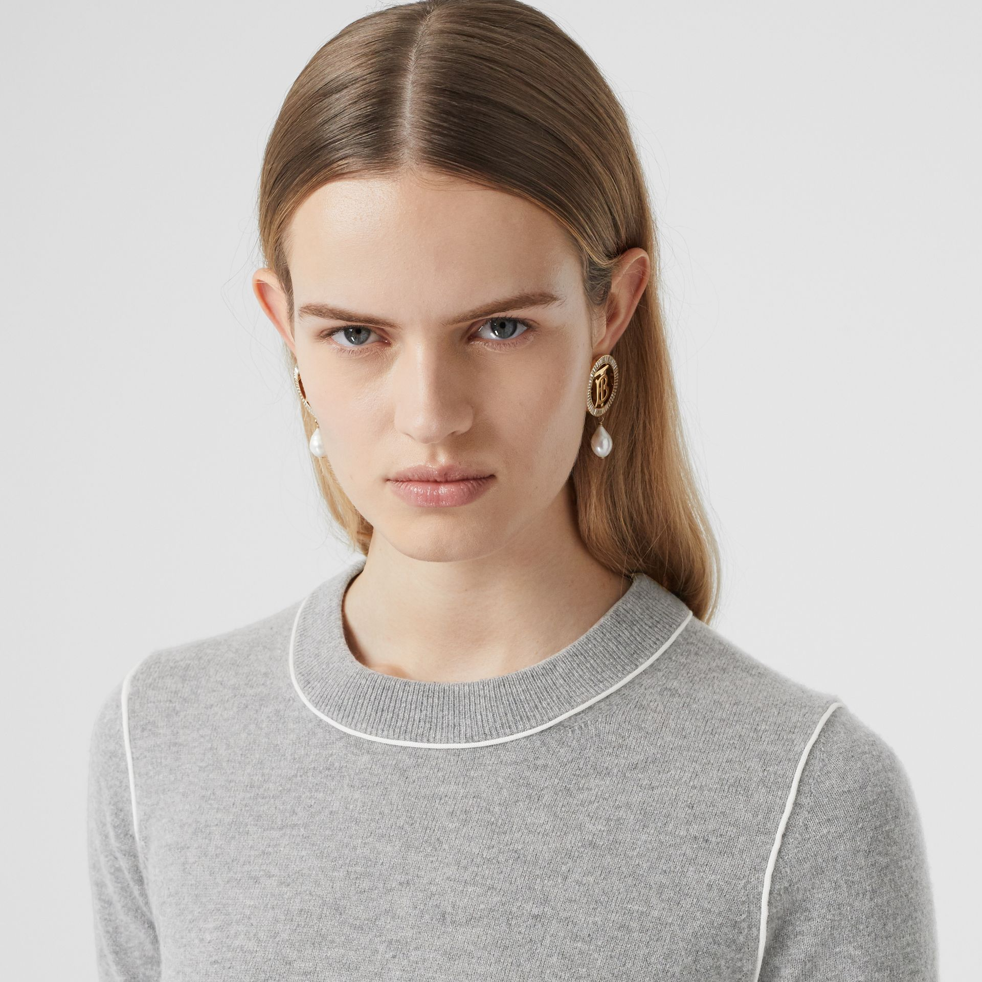 Short-sleeve Monogram Motif Cashmere Top in Grey Melange - Women | Burberry Australia - gallery image 1