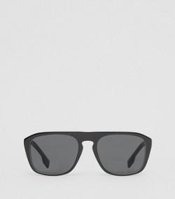 e9c9e770d8f7c Icon Stripe Detail Square Frame Sunglasses in Black