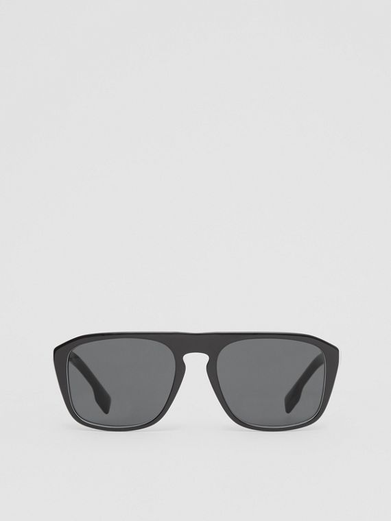 Icon Stripe Detail Square Frame Sunglasses in Black