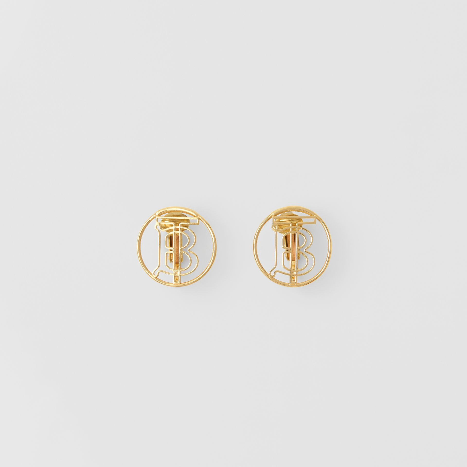Gold-plated Monogram Motif Earrings in Light - Women | Burberry Singapore - gallery image 0