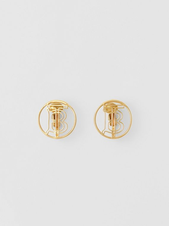 Gold-plated Monogram Motif Earrings in Light