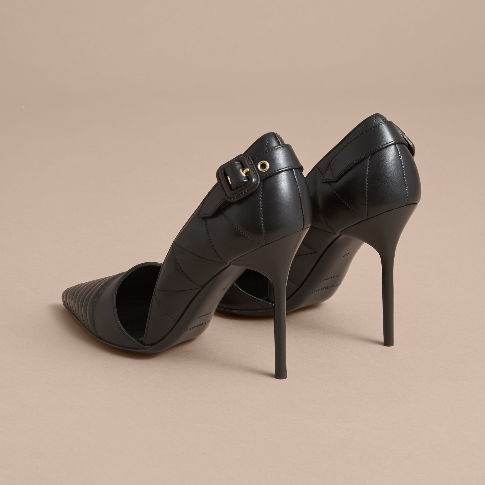 Quilted Leather D'Orsay Pumps in Black - Women | Burberry - gallery image 3