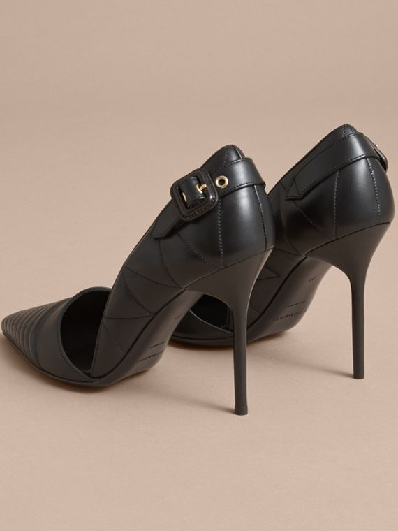 Quilted Leather D'Orsay Pumps in Black - Women | Burberry - cell image 3