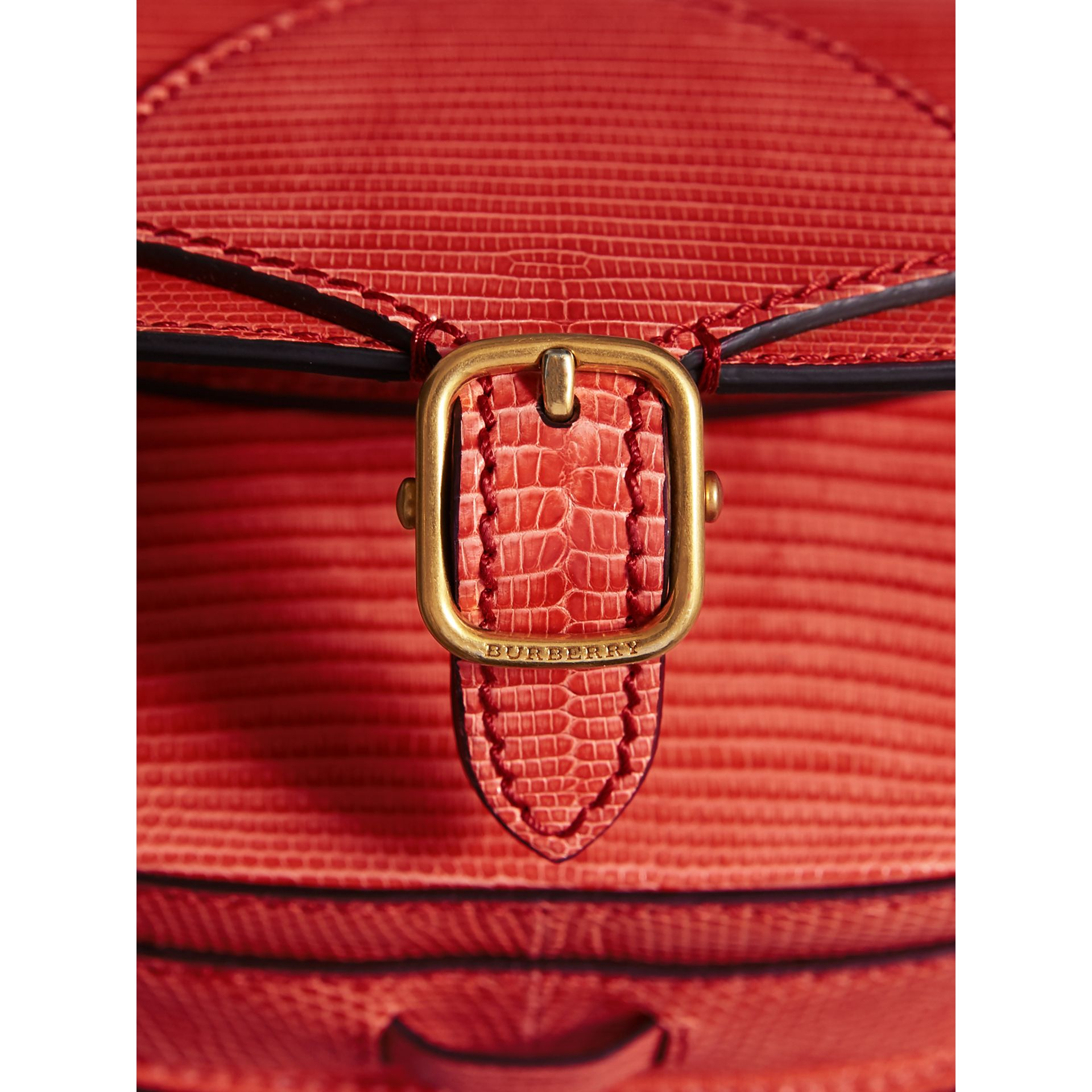 The Satchel in Lizard in Coral Red - Women | Burberry United Kingdom - gallery image 1