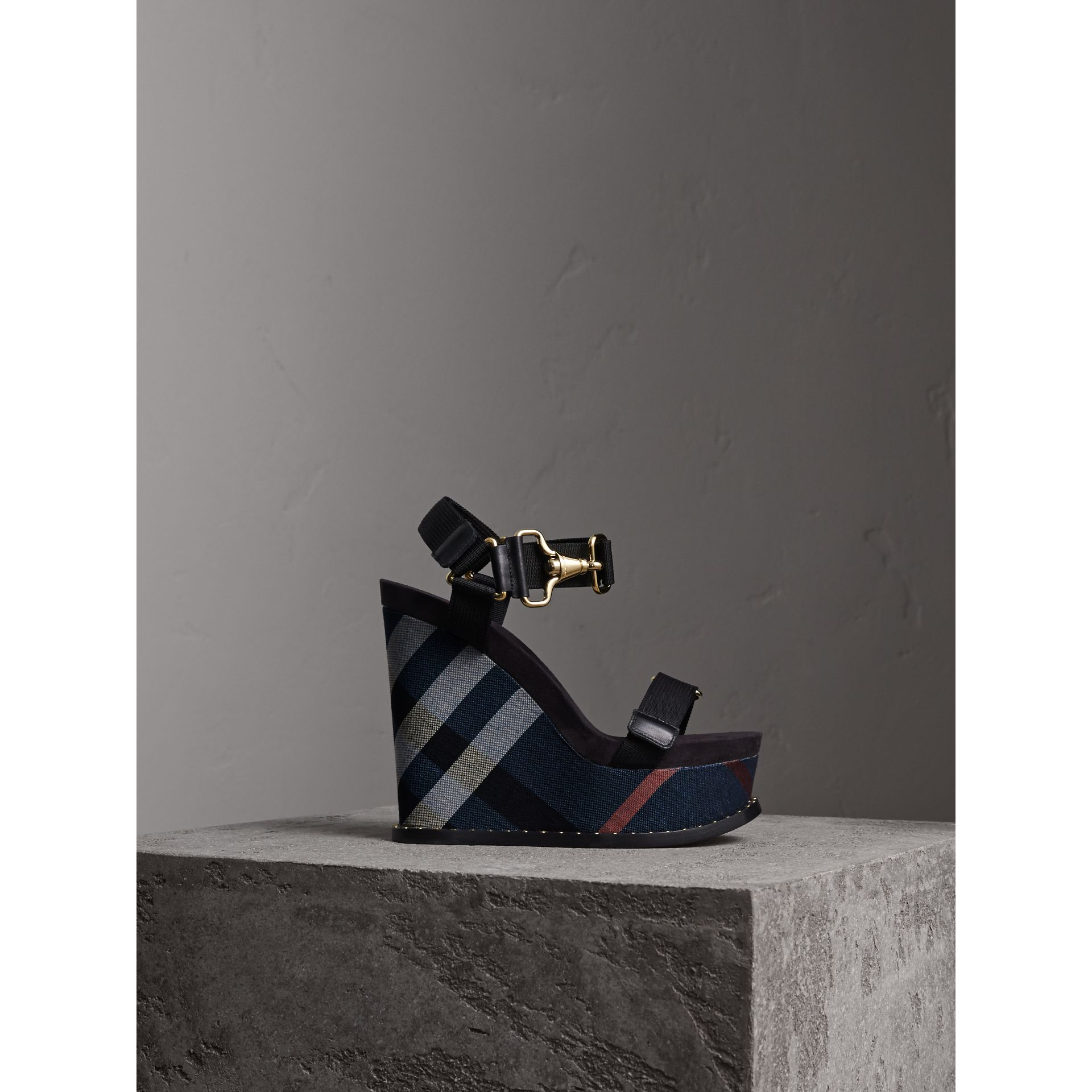 Hardware Detail Ripstop and Check Wedge Sandals in Ink Blue - Women | Burberry - gallery image 1