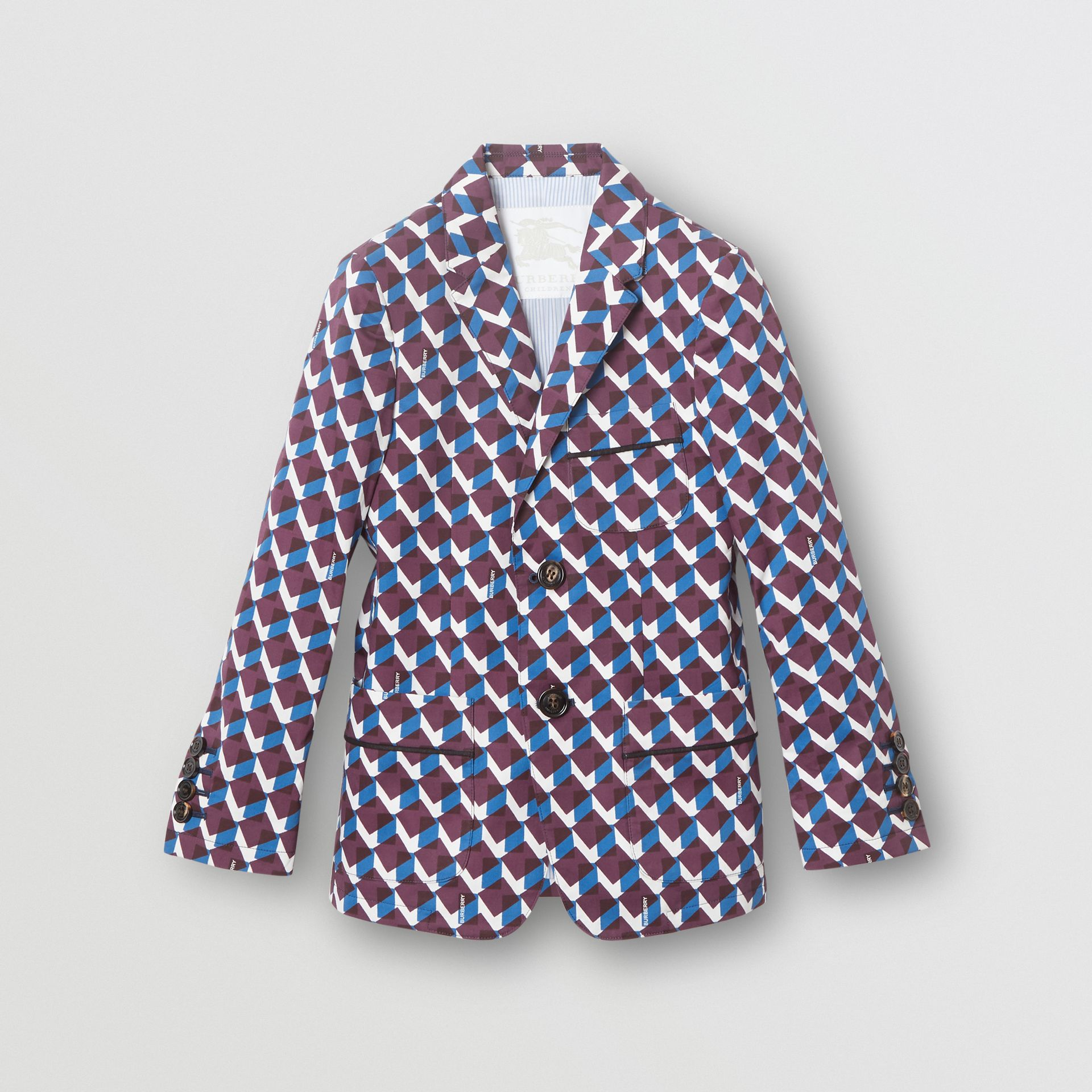 Geometric Print Cotton Blazer in Mineral Blue | Burberry - gallery image 0