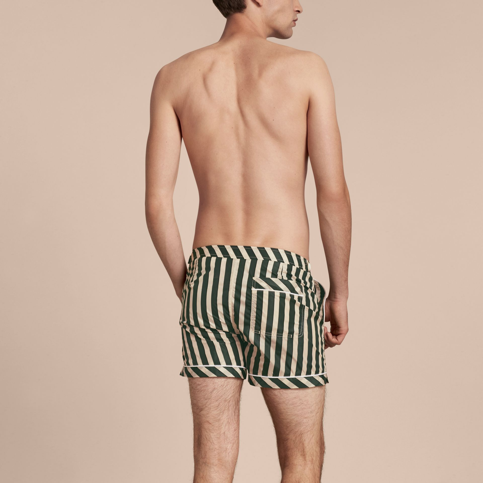 Forest green Pyjama Stripe Swim Shorts - gallery image 3