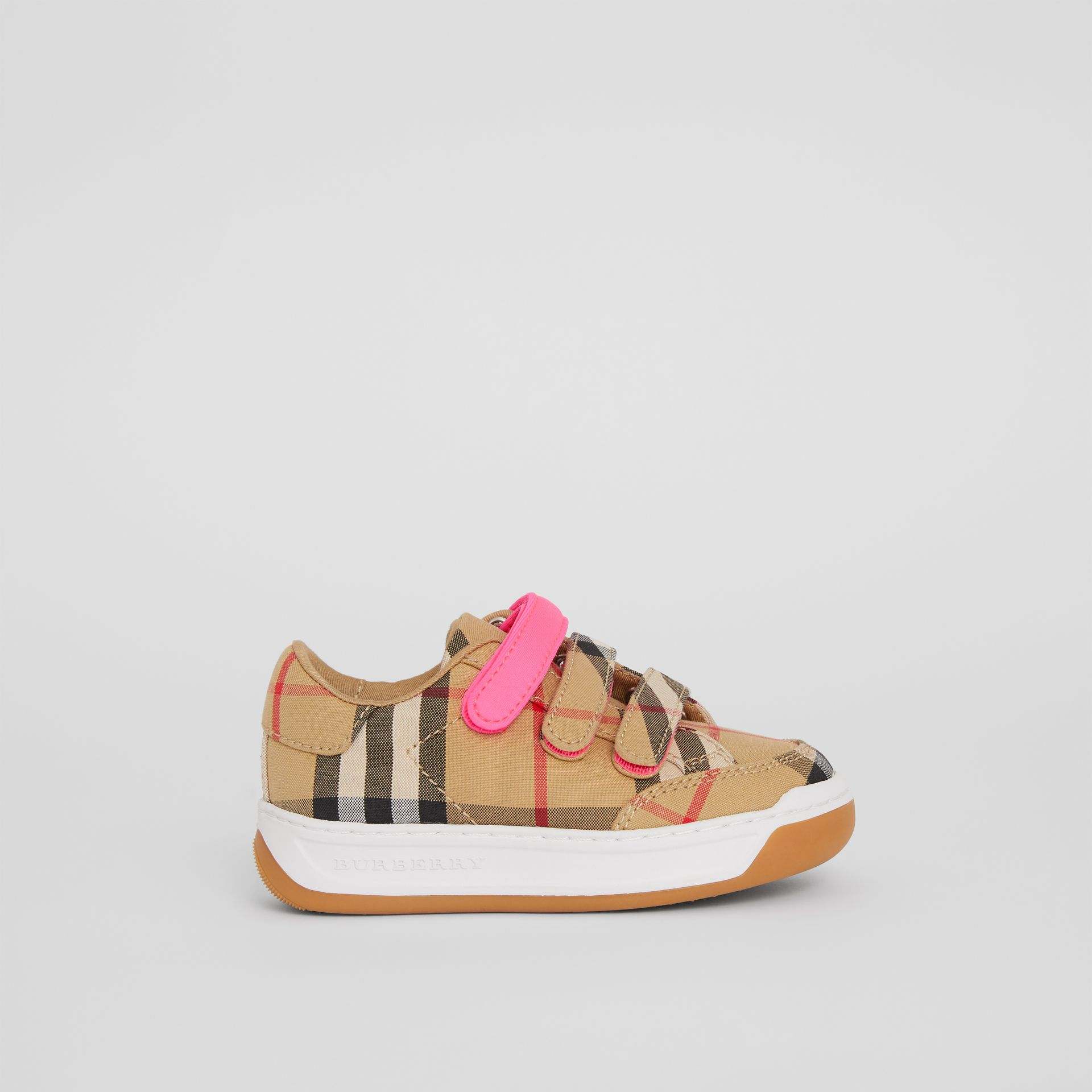 Vintage Check Sneakers in Antique Yellow/neon Pink - Children | Burberry Singapore - gallery image 3