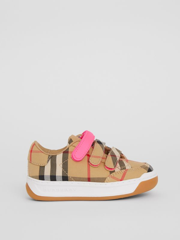 Vintage Check Sneakers in Antique Yellow/neon Pink - Children | Burberry Singapore - cell image 3