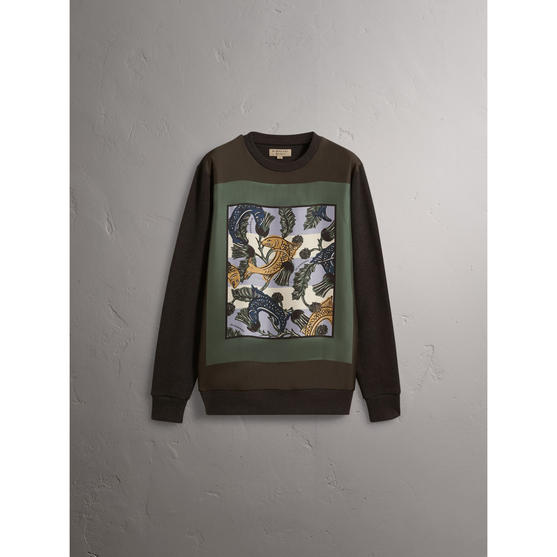 Unisex Beasts Print Silk Panel Cotton Sweatshirt in Charcoal Melange - Men | Burberry - gallery image 3