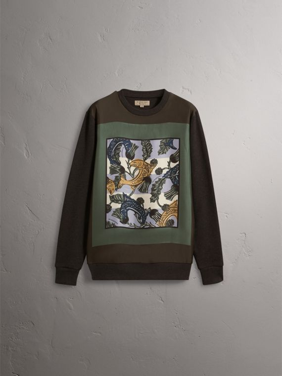 Unisex Beasts Print Silk Panel Cotton Sweatshirt in Charcoal Melange - Men | Burberry - cell image 2
