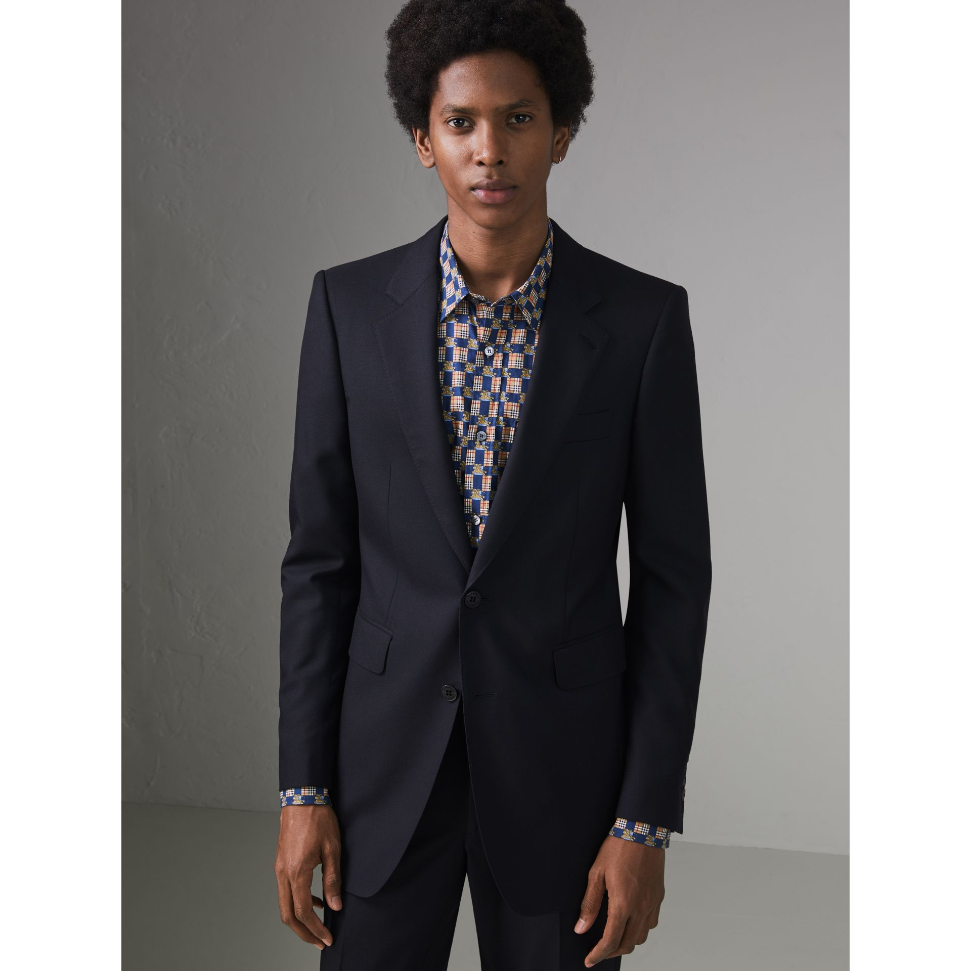 Slim Fit Wool Twill Suit in Navy - Men | Burberry Australia - gallery image 6