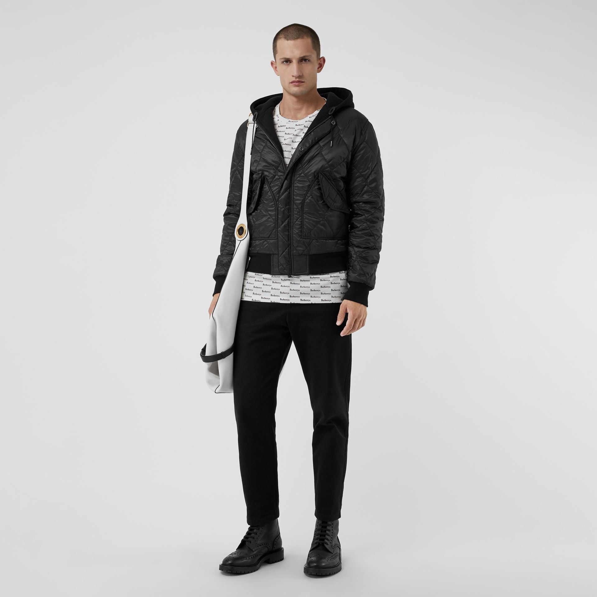 Reversible Diamond Quilted Hooded Jacket in Black - Men | Burberry - gallery image 0