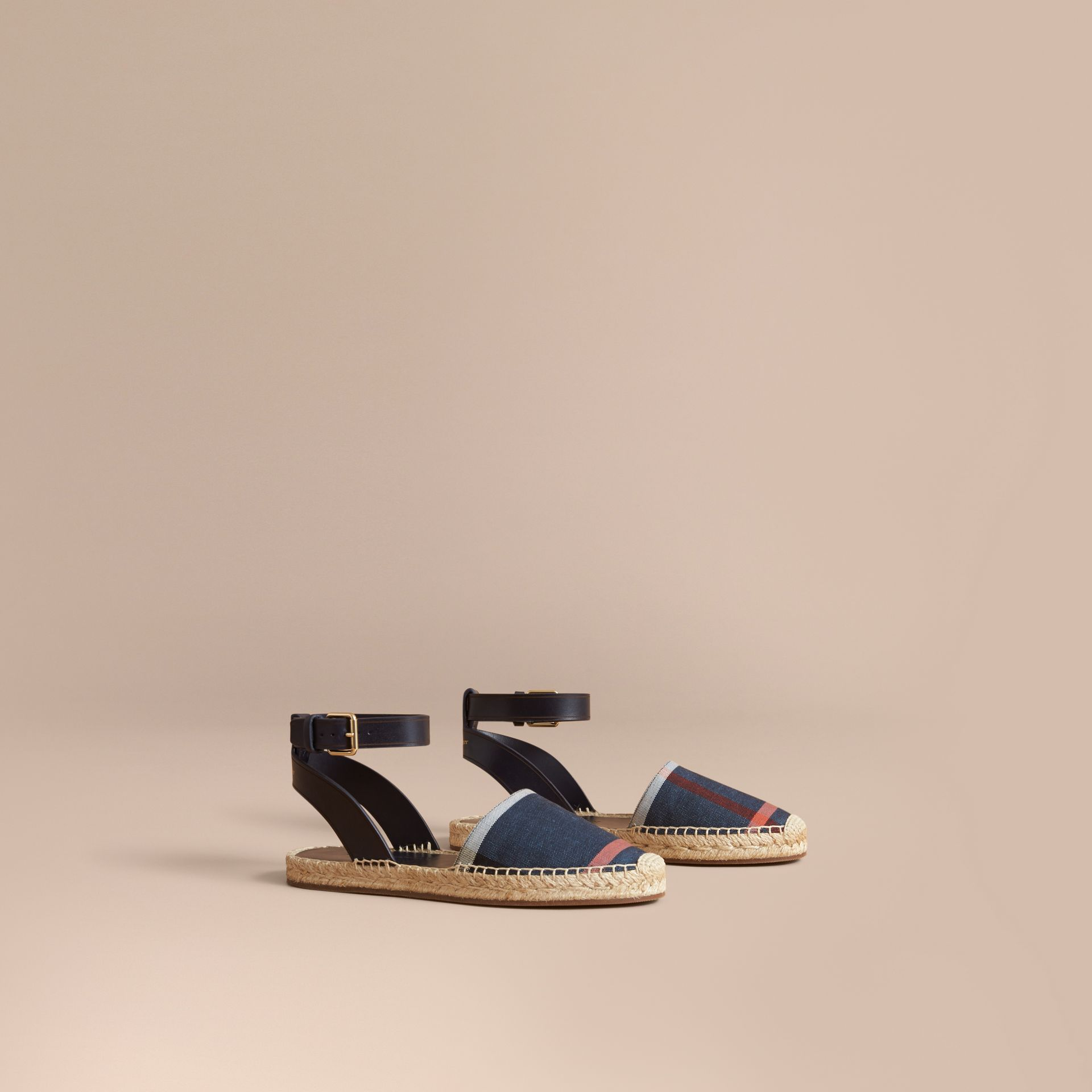Leather and Check Linen Cotton Espadrille Sandals in Navy - Women | Burberry - gallery image 1