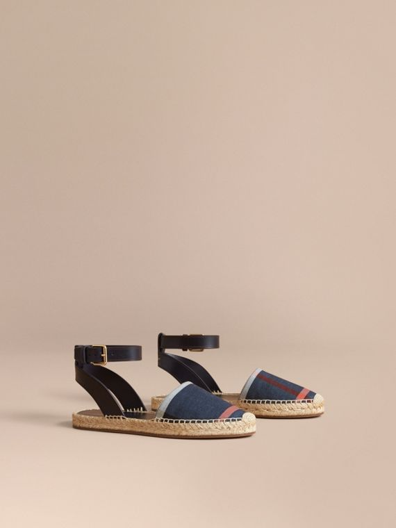 Leather and Check Linen Cotton Espadrille Sandals in Navy