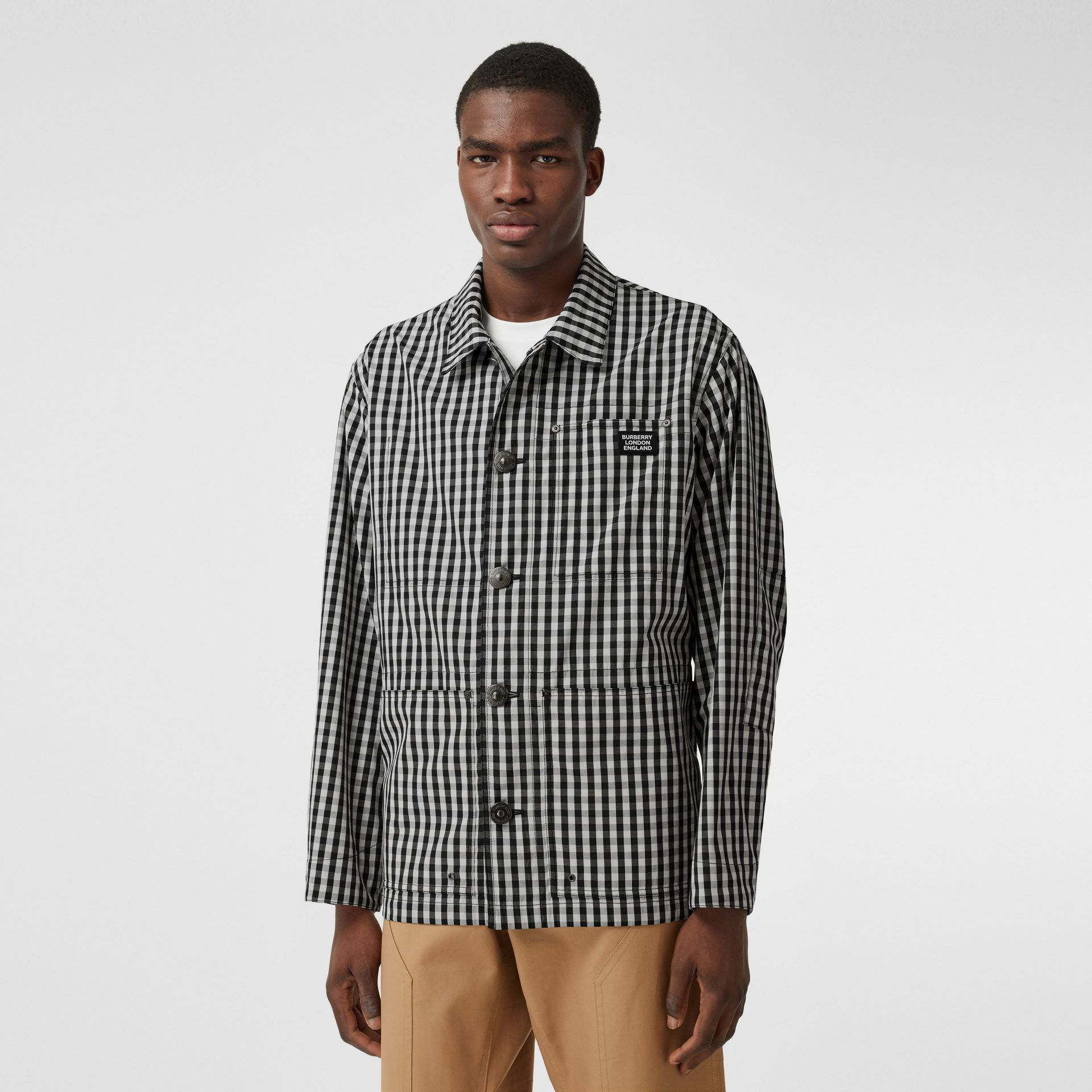 Pocket Detail Gingham Technical Wool Jacket in Black - Men | Burberry Hong Kong S.A.R - gallery image 5