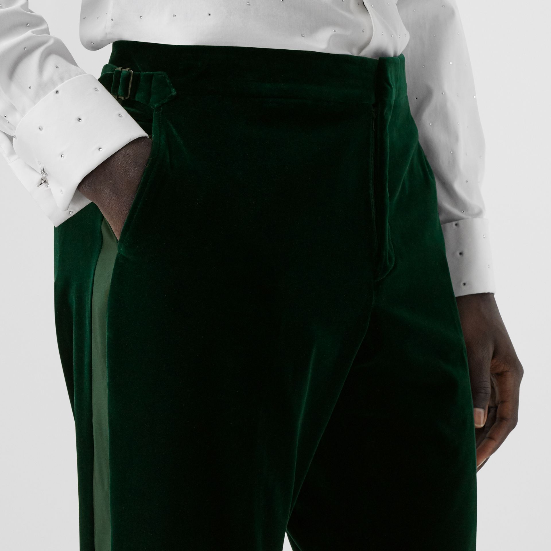 Classic Fit Silk Trim Velvet Tailored Trousers in Dark Pine Green - Men | Burberry - gallery image 1