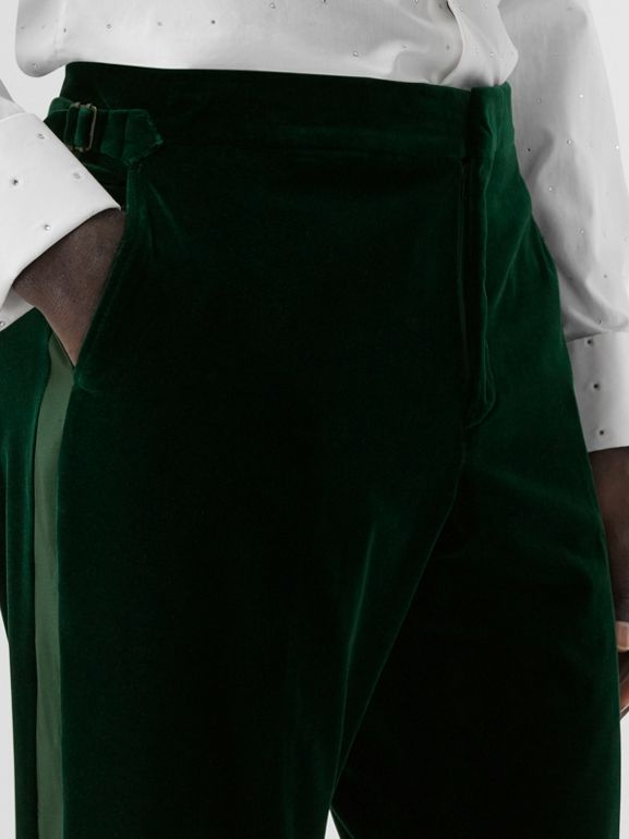 Classic Fit Silk Trim Velvet Tailored Trousers in Dark Pine Green - Men | Burberry - cell image 1