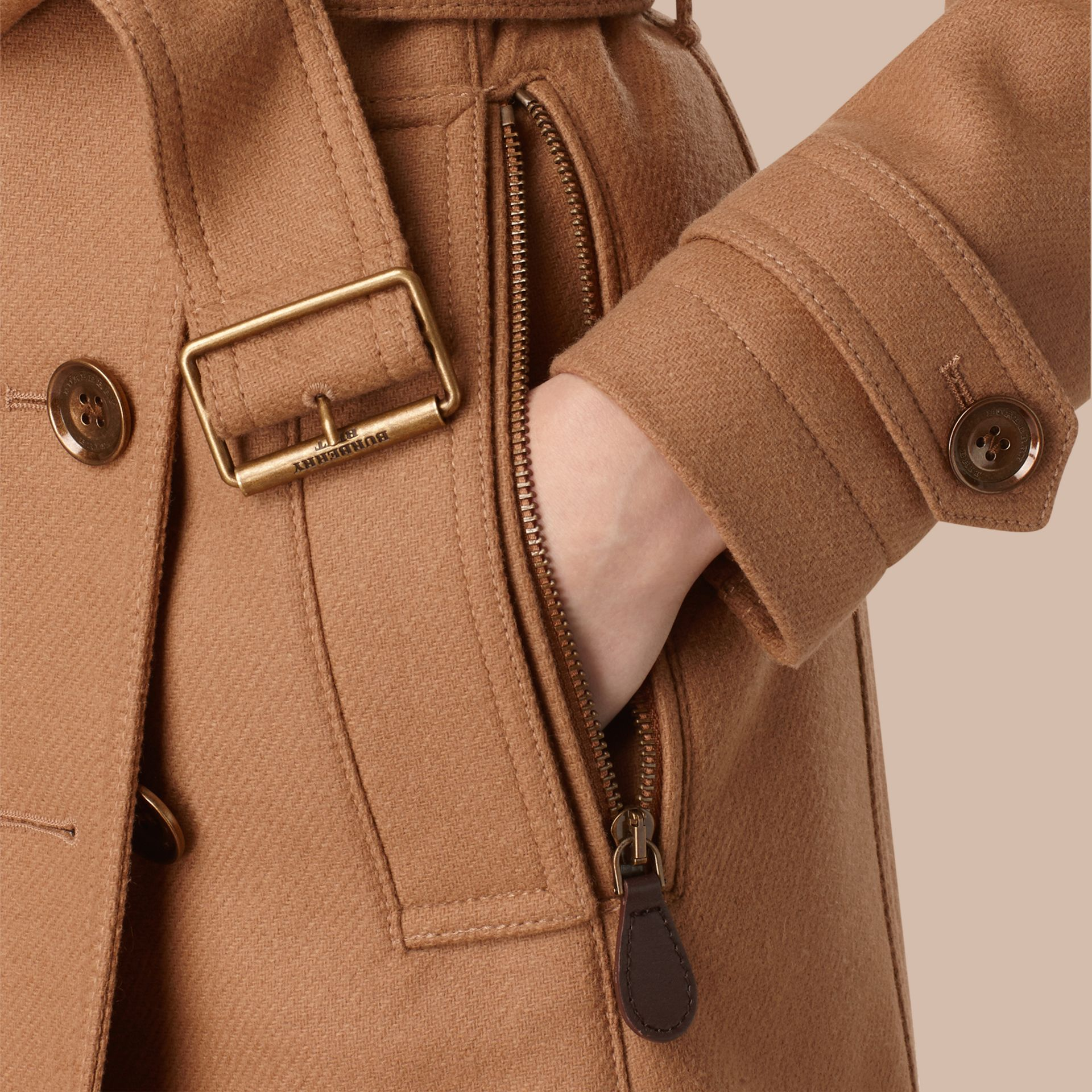Camel Short Double Wool Twill Trench Coat Camel - gallery image 2