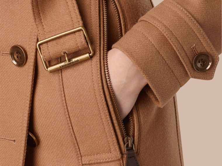 Camel Short Double Wool Twill Trench Coat Camel - cell image 1