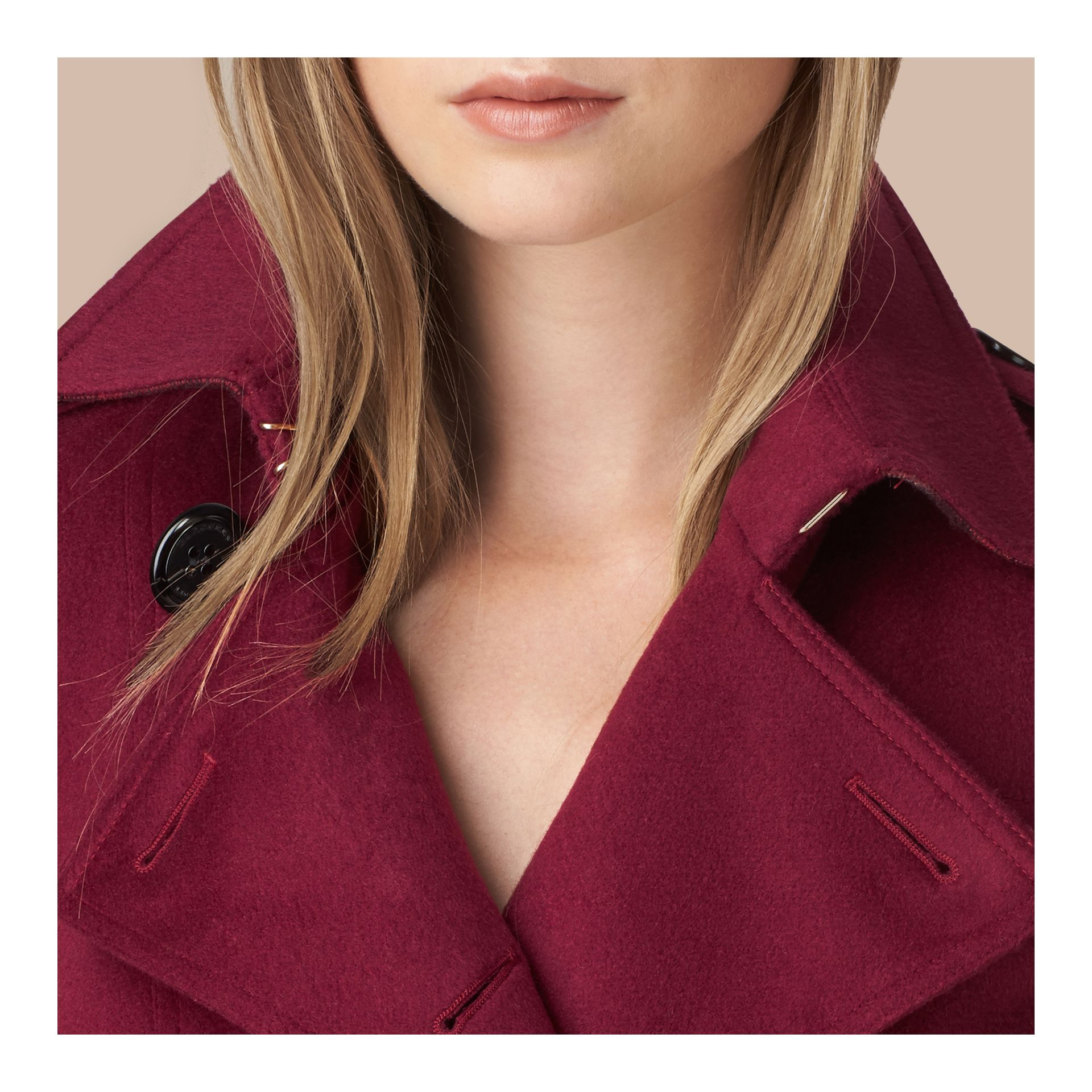 Cherry pink Sandringham Fit Cashmere Trench Coat Cherry Pink - gallery image 5