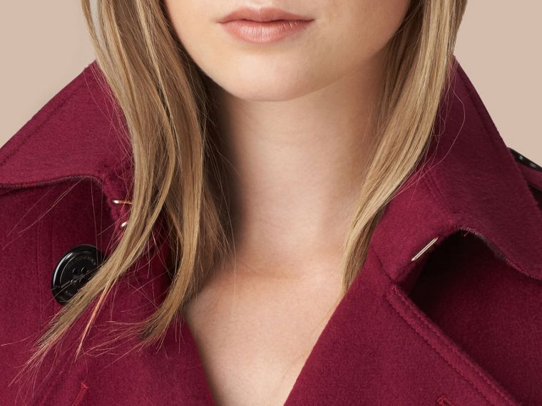 Sandringham Fit Cashmere Trench Coat in Cherry Pink - cell image 4