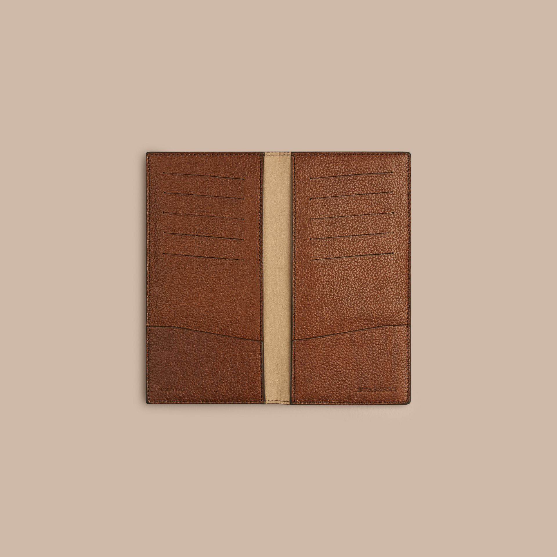 Grainy Leather Travel Card Case Tan - gallery image 2