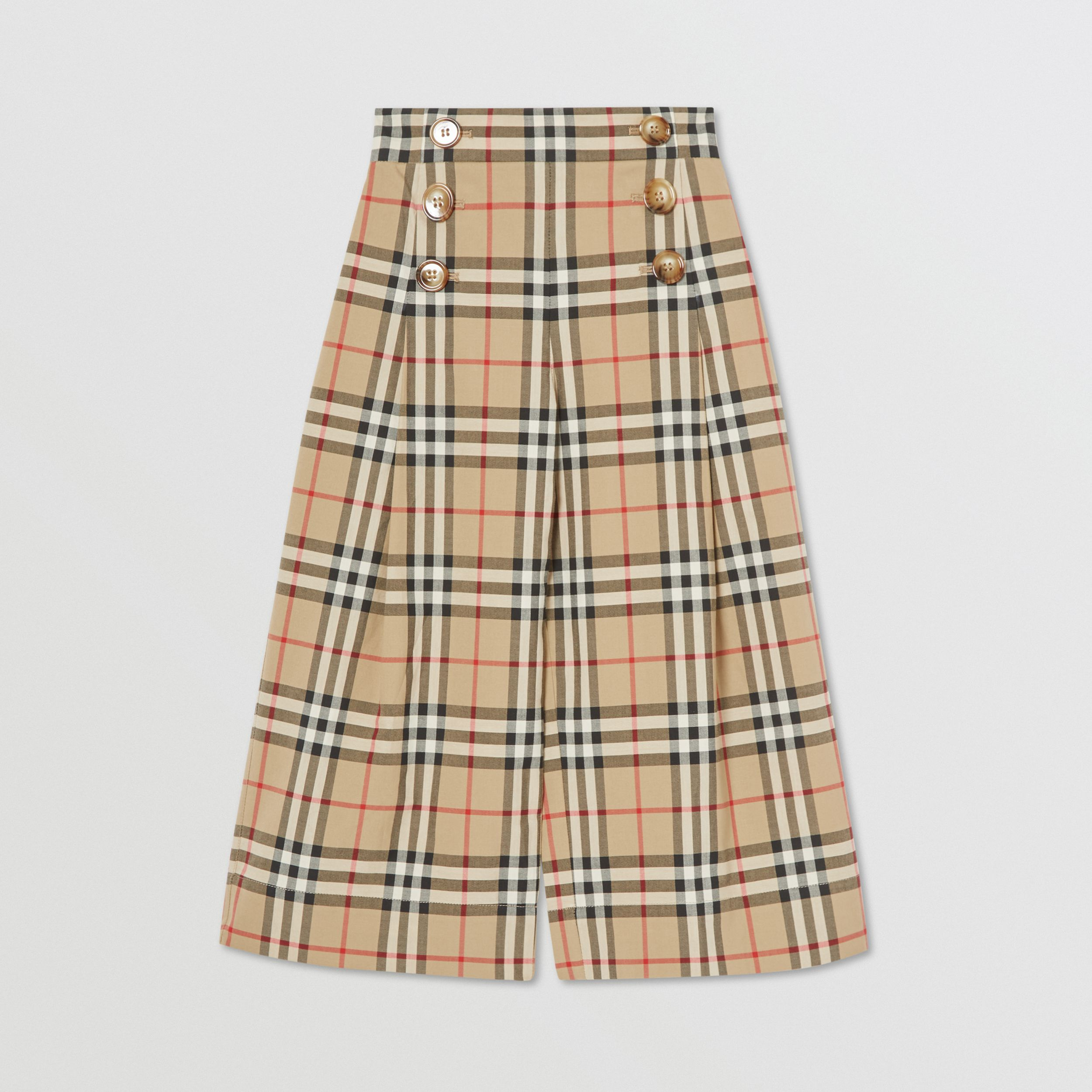 Vintage Check Cotton Sailor Trousers in Archive Beige | Burberry - 1
