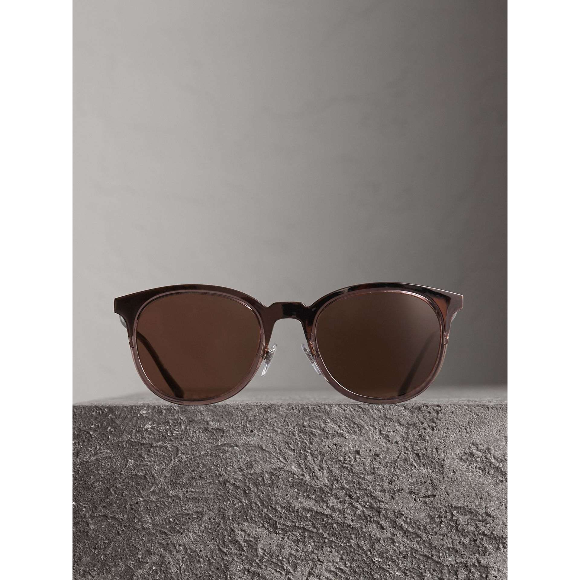 Round Frame Sunglasses in Burnt Orange - Men | Burberry United Kingdom - gallery image 3