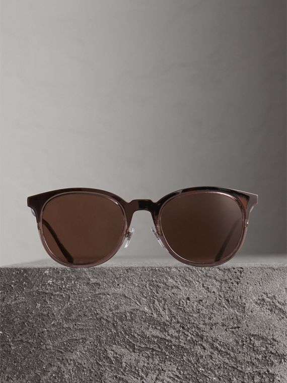 Round Frame Sunglasses in Burnt Orange - Men | Burberry - cell image 3